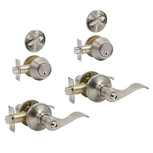 Front Door Entry Lever Lockset and Single Cylinder Deadbolt Combination Set, Satin Nickel - (2 Pack) - All Keyed Alike(Same Keys)