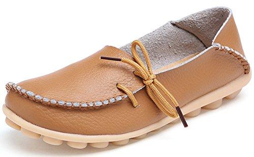 Summerwhisper Femme Confortable Chaussures De Sport Casual Mocassins Slip-on Bateau Chaussures Flats Marron