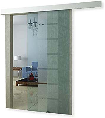 Puerta corredera de vidrio, con marco, transparente, 117: Amazon ...