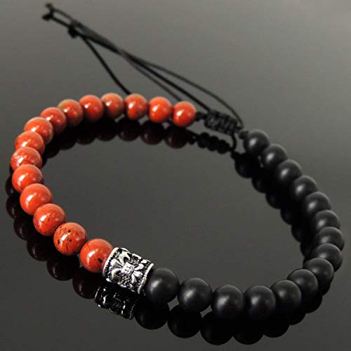 Handmade Braided Fleur de Lis Bracelet for Men's Women's Casual Wear, Protection with Matte Black Onyx, Red Jasper 6mm Gemstones, Adjustable Drawstring, Genuine S925 Sterling Silver Barrel ()