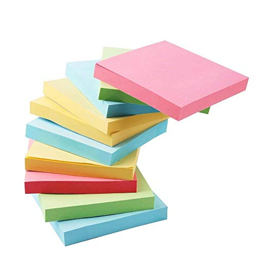 Writing Sticky Notes, 10 Pcs (100 Sheets per Pad) Memo Self-Stick Notes for Office School and Home, Random Color Office