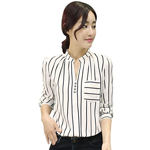 TOPUNDER Striped Button Down Shirt with Pockets for Women Long Sleeve Tops Formal Blouse