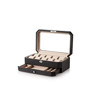Nathan Direct Carter Lockable 10-Watch Watch Box with 1 Drawer, Black