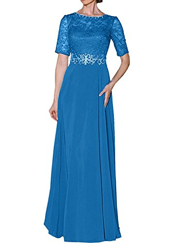 Royal mit Kurzarm Damen Abendkleider Charmant Partykleider Spitze Blau Damen Brautmutterkleider Festliche Blau 5xfpBwzqAU
