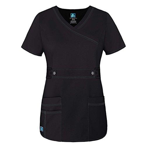 Adar Womens Pop-Stretch Junior Fit Taskwear Tab-Waist Crossover Scrub Top - 3200 - Black - L
