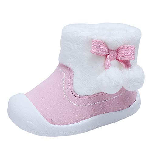 24 Baby Footwear Boots - Toddler Baby Girls Boys Boots Plush Pom Pom Rubber Sole Non-Slip Outdoor Shoes Warm Snow Boots 9-24months(18(Inside length-13.2cm)(18-21months),Pink)