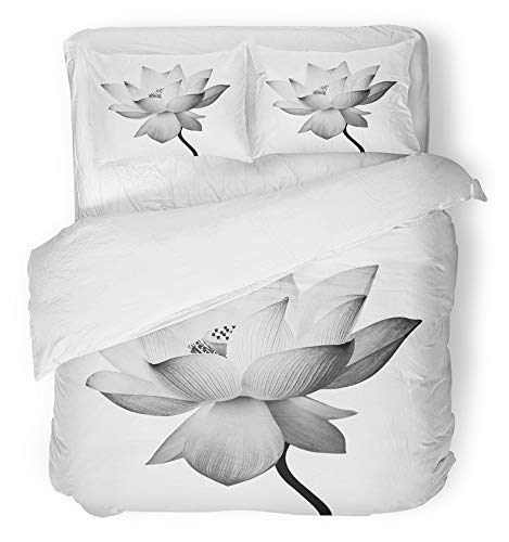 (Emvency 3 Piece Duvet Cover Set Breathable Brushed Microfiber Fabric Serene Lotus Flower White Zen Beautiful Beauty Blank Bloom Blooming Blossom Bedding Set with 2 Pillow Covers King Size)
