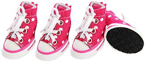 (PET LIFE 'Extreme-Skater' Canvas Casual Rubberized Grip Pet Dog Shoes Boots Booties - Set of 4, Medium, Pink/Polka)