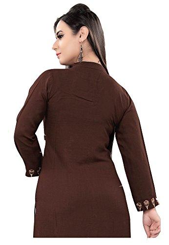Jayayamala Femmes Coton Marron Col Collier Tunique brodée / plus grande taille tuniques attrayantes