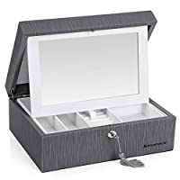 SONGMICS 2-Layer Jewelry Box, Lockable Jewelry Organizer, with Flip-Over Mirror, Removable Divider, Necklace Compartments, Ring Rolls, Gift for Loved Ones, Gray UJBC233GY