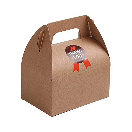 Treat Boxes, Favor Treat Goody Brown Kraft Paper Boxes Carriers, Cake Donut Snacks Gift Box Birthday Party Shower Favor Box ()