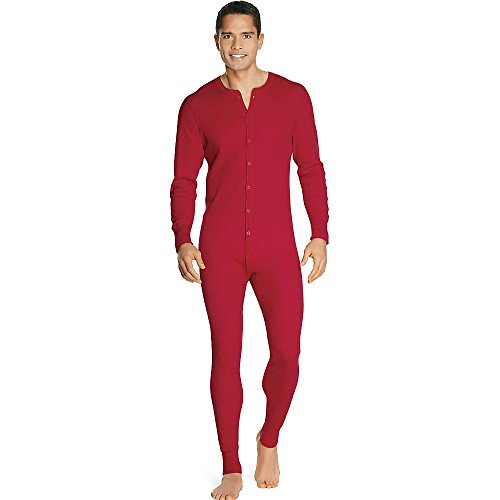 Hanes X-Temp Men's Organic Cotton Thermal Union Suit_Red_M by Hanes