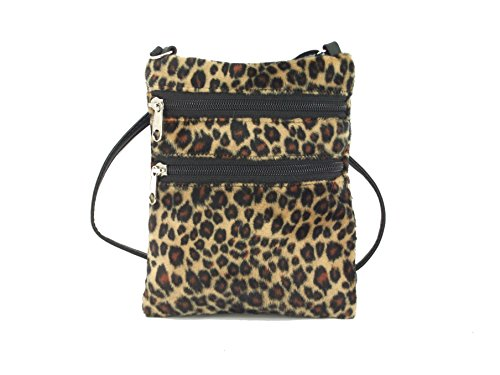 Loni Womens Funky Small Flat Shoulder Bag/Cross-Body Bag Animal Print Faux Fur Bag in Leopard