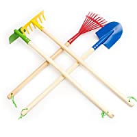 Fun Central 4 Pieces - 29 Inch Garden Tool Set for Kids & Toddlers - Blue Spade, Green Hoe, Yellow Garden Rake and Red Leaf Rake
