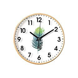 Wall Clock Nordic Style Wooden Decoration Tree Leaf Bedroom Quartz Clock 12 Inches
