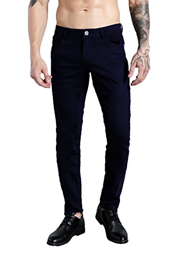 ZLZ Men's Slim Fit Stretch Comfy Fashion Denim Jeans Pants Navy Blue