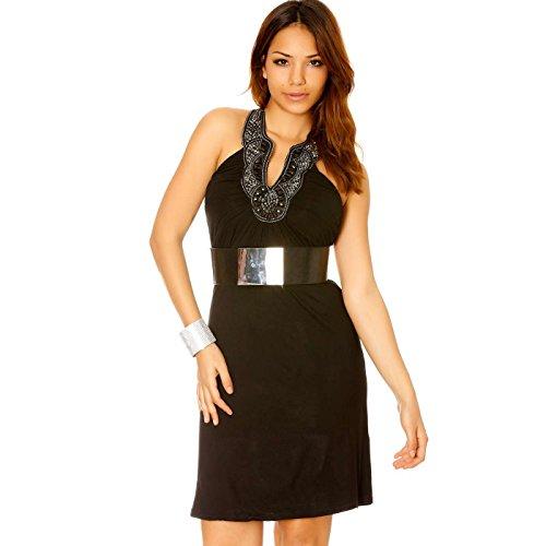 Miss Wear Line - Robe bustier noir avec col attache cou fantaisie
