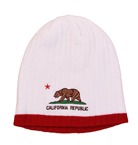 (California Embroidered Beanie Winter Cap Hat (White))