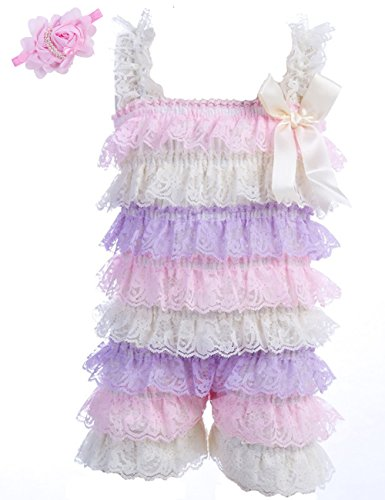 Baby Girls Bowknot Lace Folds Romper and Headband (L(12-24month), Acolorful)