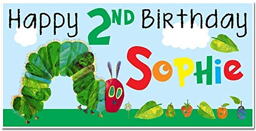 The Very Hungry Caterpillar Birthday Banner Personalized Party Decoration Backdrop ()