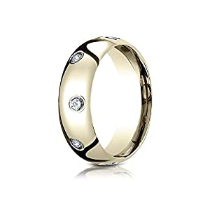 18k Yellow Gold 6mm Comfort-Fit Burnish Set 8-Stone Diamond Eternity Ring .32ct - Size 6.5