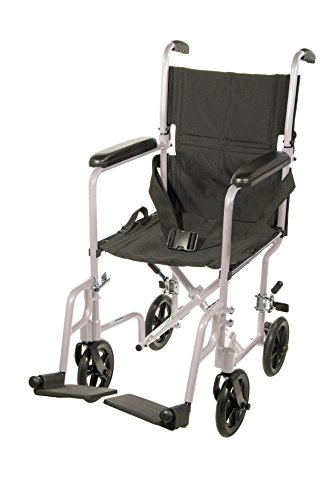 Drive Medical Aluminum Transport Chair, 19', Silver