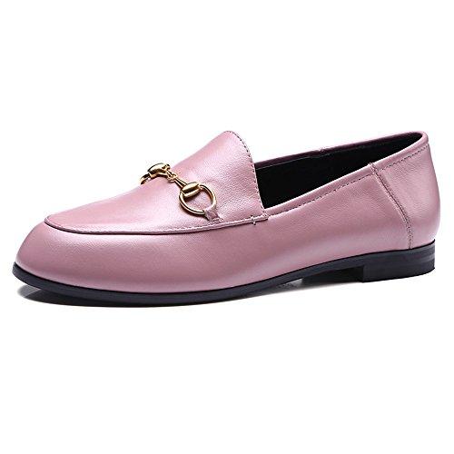 Nine Seven Cuero Puntera Redonda Bailarinas Planos Cómodos para Mujer Rosa