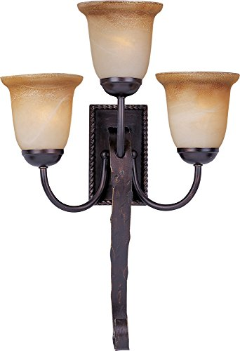 Maxim 20619VAOI Aspen 3-Light Wall Sconce, Oil Rubbed Bronze Finish, Vintage Amber Glass, MB Incandescent Incandescent Bulb , 4.5W Max., Wet Safety Rating, 3000K Color Temp, Metal Rod + Clear Gl Shade Material, 630 Rated Lumens (Mounts Lighting Wall Mediterranean)
