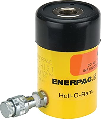 """Enerpac RCH-123 Single-Acting Hollow-Plunger Hydraulic Cylinder with 12 Ton Capacity, Single Port, 3.00"""" Stroke Length"""