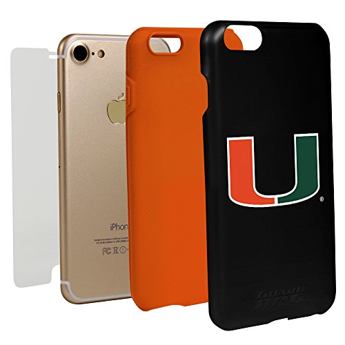 Guard Dog Black Hybrid Case for iPhone 7/8 and Guard Glass Screen Protector (U Miami Hurricanes)