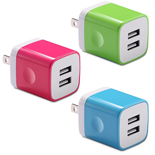 USB Wall Charger, BEST4ONE 2.1A/5V 10.5W Dual Port USB Charger AC Adapter Plug Compatible with iPhone XS/Max / MR X /8/7/6 Plus, iPad, Kindle, Moto G X, Huawei, Cell Phone (3-Pack) (Blue,Pink,Green)