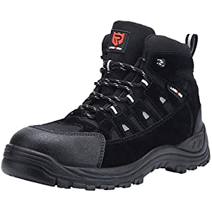 LARNMERN Mens Work Boots,LM-1702 S3 SRC Composite Toe Safety Shoes Non Slip Lightweight Reflective