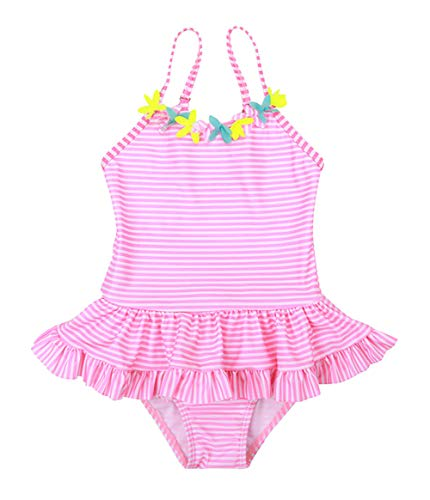 Happy Cherry Toddler Girls One Piece Swimsuit Adjustable Flowers Pleated Bahting Suit 4-5T Stripe Pink ()