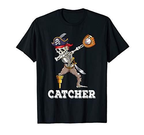 Dabbing Skeleton Pirate Baseball Catcher Halloween Costume