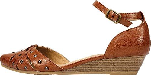 Rialto Womens Mya Pointed Toe Ankle Strap Wedge Pumps Cognac mJzW3x