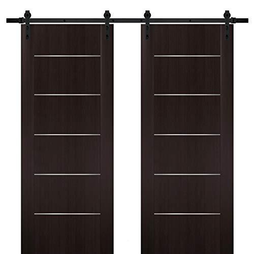 Double Barn Sliding Brown Doors 64 x 80 with Black Hardware | Planum 0030 Wenge | Rails 13FT Hangers Steel Set | Closet…