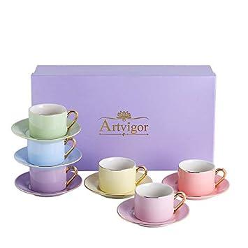Artvigor 6 Juegos de Tazas de Café/Té de Porcelana Tazas de Cerámica, 200