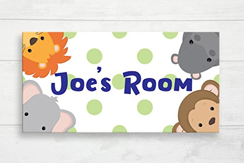 restore2a Jungle Safari Door Sign Safari Nursery Zoo Animals Kids Door Plaque Baby Name Door Sign Baby Gift Jungle Nursery Art Custom Name