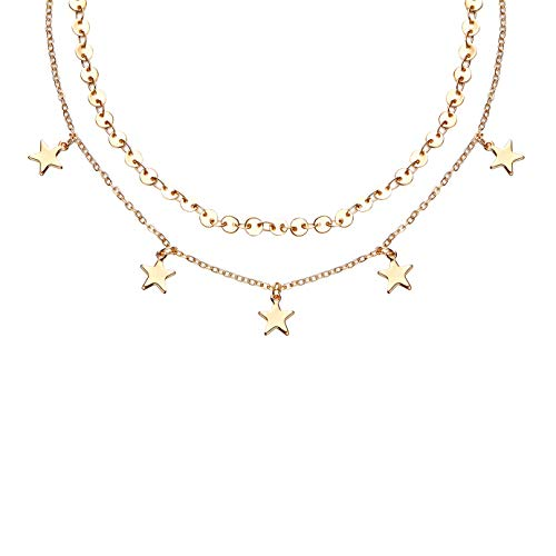 Aikooch Star Charm Double Layer Choker Necklace for Women Golden