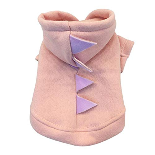 Winter Dog Coat Jacket Pet Dog cat Clothes Puppy Short Dinosaur Shape Dress Pet Plush Sweater Fashion Style,Pink,S,United States]()