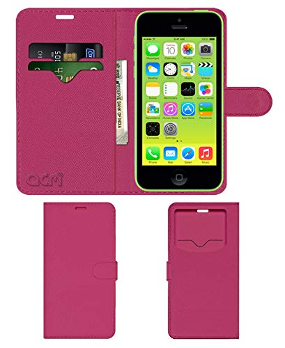 Acm Leather Window Flip Wallet Front  amp; Back Case Compatible with Apple iPhone 5c Mobile Cover Pink