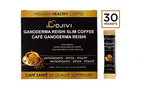Dodjivi Ganoderma Reishi Mushroom Coffee Mix, Instant Coffee Herbal Superfood Blend, Keto Friendly, Intermittent Fasting, Focus Natural Energy - Wellness, Antioxidant-Immunity - Vegan Paleo (30Bags)