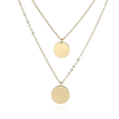 WLL Double Gold Layered Chain Necklace Simple Disc Round Sequin Coin Necklace Bridal Jewelry (Layered Disc Necklace)