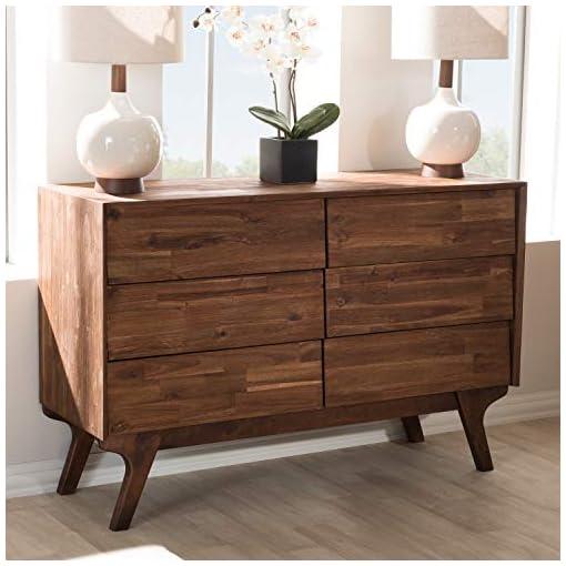 Bedroom Baxton Studio Sierra Mid-Century Modern Brown Wood 6-Drawer Dresser/Mid-Century/Brown/Medium Wood/Acacia Wood/Rubber…