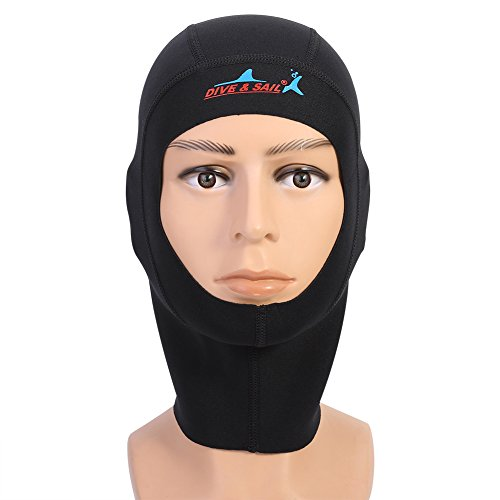 1/3MM Bib Hood Diving Cap Neoprene Scuba Snorkeling Wetsuit Hood Surf Divers Hat for Men Women (L(3millimeter)) ()