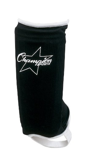 Champion Plastic Shin Guard (Champion Sports Sock Type Shin Guards (Black, Youth Large))