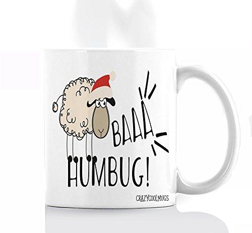 Funny Christmas Animal Coffee Mug by Crazy Cool Mugs | Baa Humbug, Holiday Sheep Pun With Santa Hat, Bah Humbug Scrooge Joke, 11 Ounce White (Christmas Bad Jokes Puns)