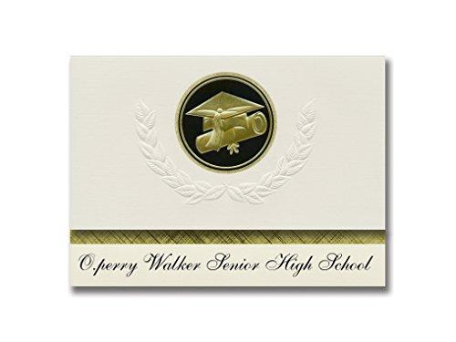 Signature Announcements O.perry Walker Senior High School (New Orleans, LA) Graduation Announcements, Presidential Elite Pack 25 Cap & Diploma Seal. Black & Gold. (O Perry Walker High School New Orleans)