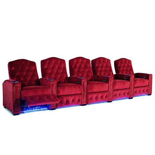Octane Regal XL250 Power Recline Sangria Microfiber Home Theater Seating (Set of 5)