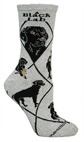 Wheelhouse Designs Black Lab On Gray Socks, Large